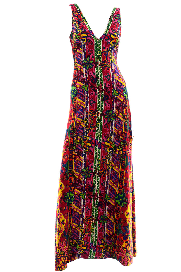 1970s Vintage Bendels Colorful Maxi Dress