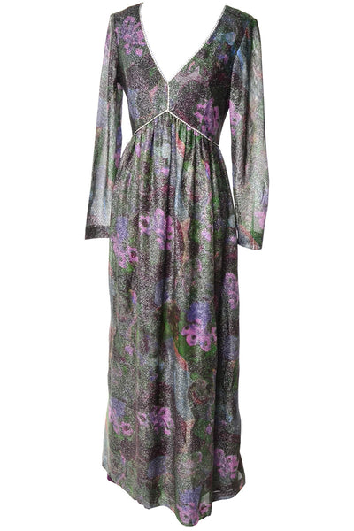 Shimmer Metallic 1970's Fred Perlberg Floral Maxi Dress Rhinestones Size 6 - Dressing Vintage