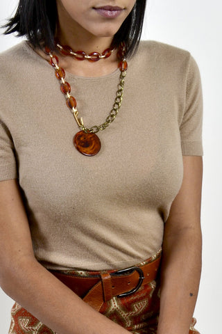 Amber Lucite Chain Link Belt or Necklace with Circle Medallion