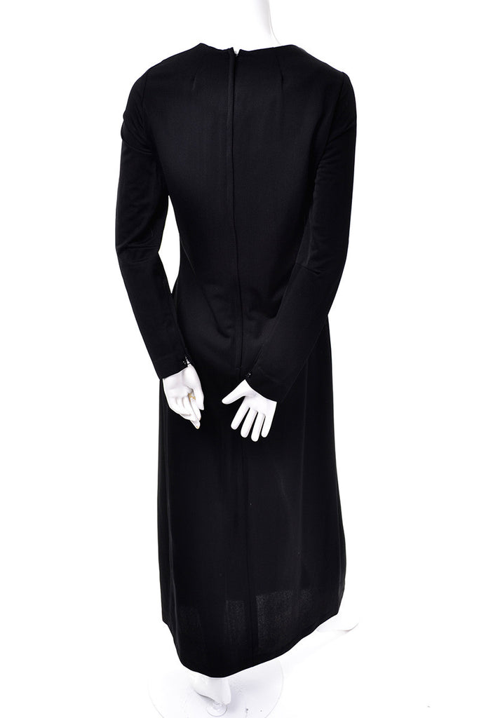 1970's Vintage Black Maxi Dress with Long Sleeves