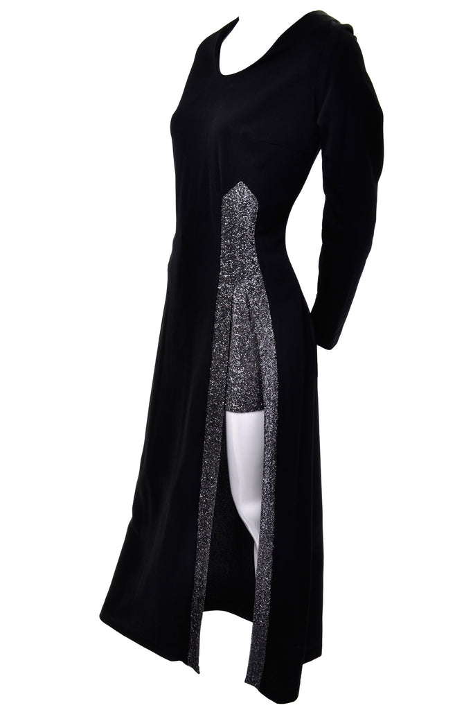 1970's Silver Sparkle Maxi Dress with Slit and Hot Pants