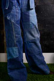 Vintage wide leg jeans with patchwork denim