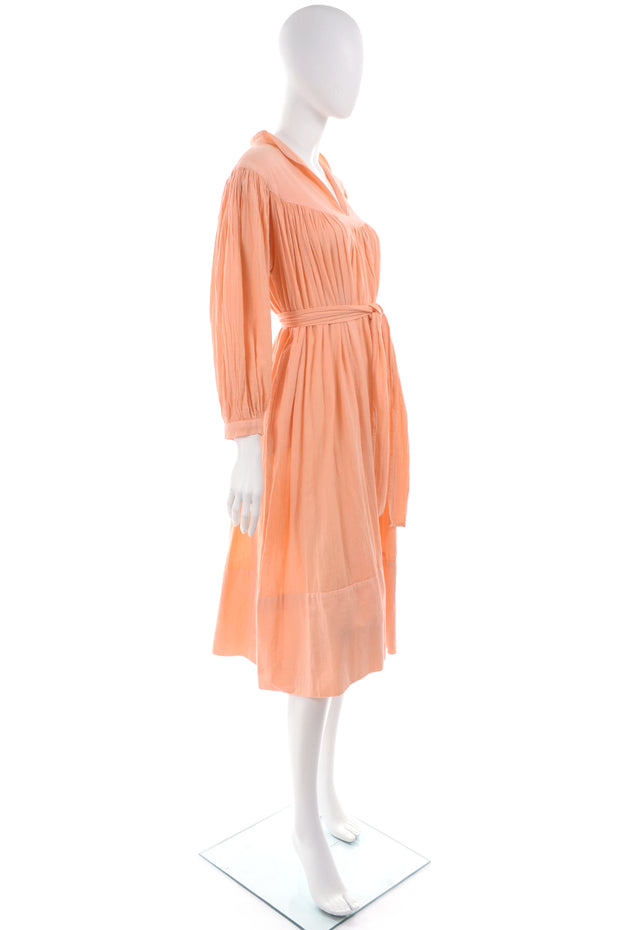 1970s Peach Cotton Gauze Gathered Yoke House Dress w/ Waist Tie
