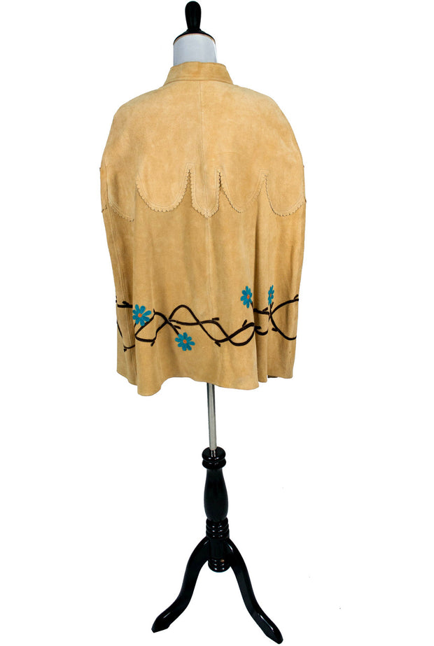 Fab Hippie Chic Ultimate 60's Genuine Suede Embroidered Cape - Dressing Vintage