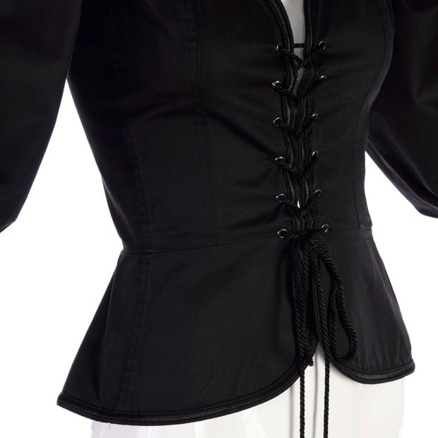 1977 Yves Saint Laurent YSL Russian Ballet Black Corset Style Peasant Top