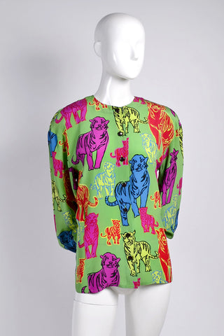 Vintage Escada pop art tiger blouse