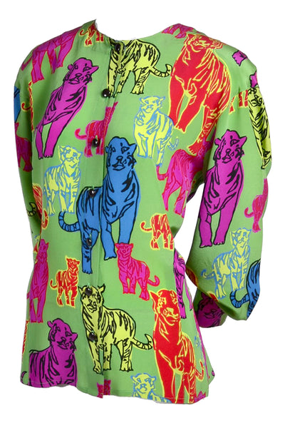 Escada Pop Art Tiger Silk Shirt
