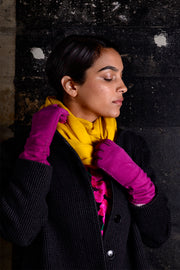 Hot Pink Suede Vintage Long Gloves