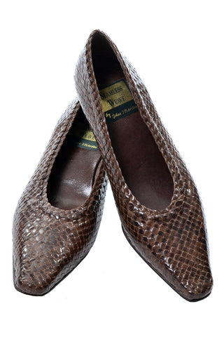 Vintage Chanel Pumps Woven Heels With Tan Leather Trim in Size 8.5