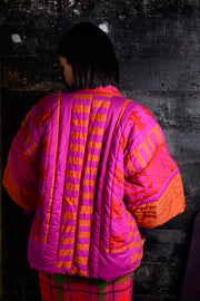 1970's Patchwork Quilted Pink & Orange Puff Jacket