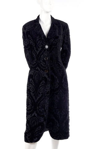 1980's vintage filligree cut black velvet coat