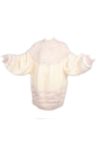 Vintage cream and pink mohair sweater