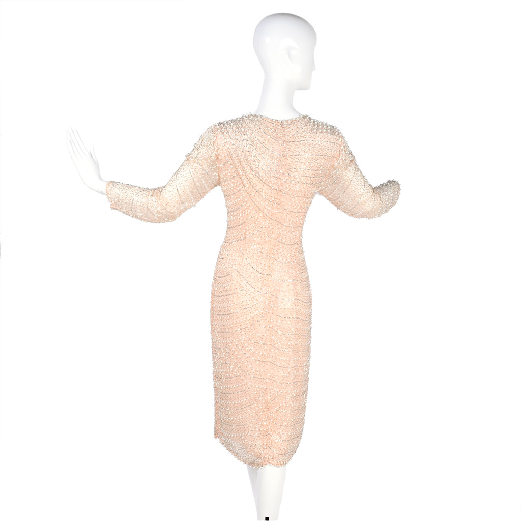 1980's vintage pale pink silk beaded sequined dress