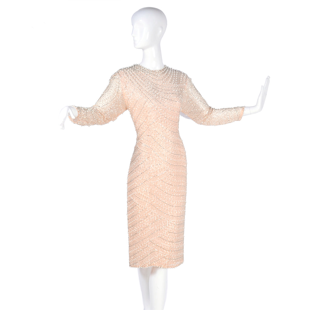 Sequin and beaded 1980's pale peach vintage dress