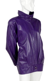 1980's vintage leather purple jewel tone coat
