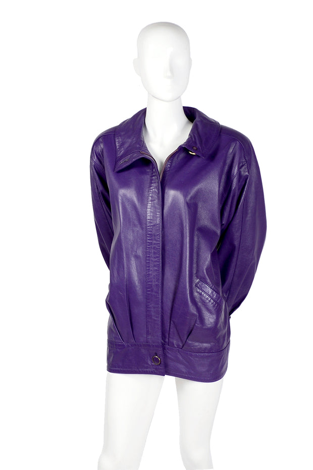 Purple leather bomber jacket