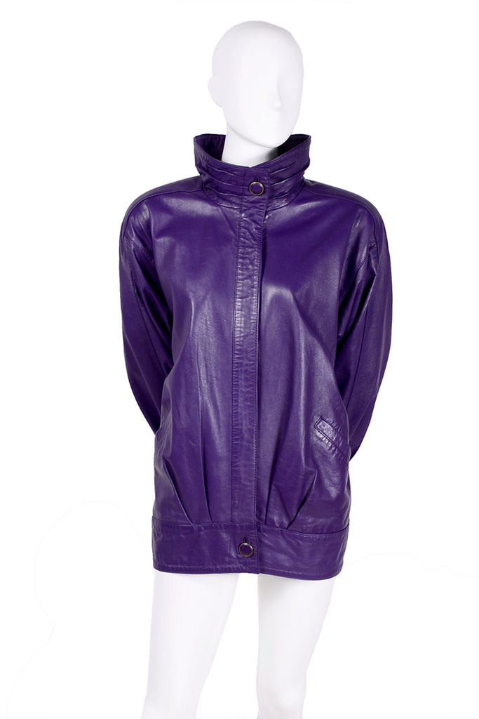 High collar purple leather bomber jacket