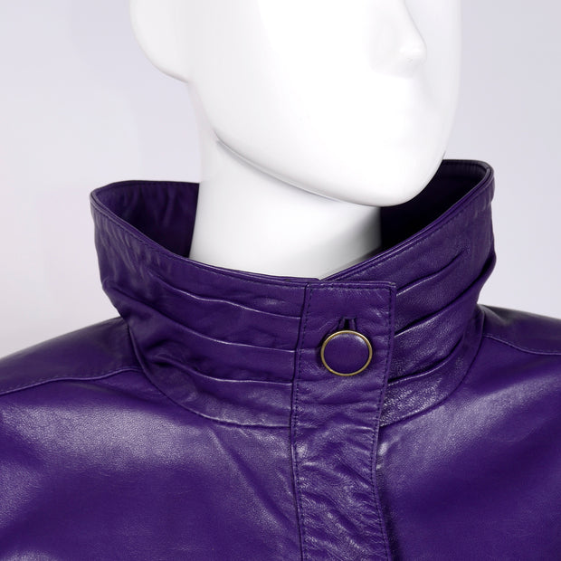 1980's high collar leather vintage jacket