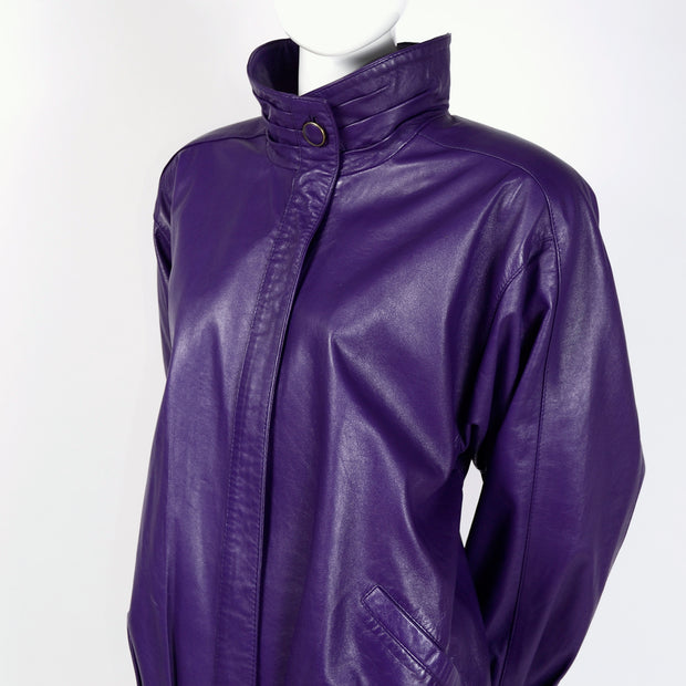 1980's oversized purple leather motorcycle jacket