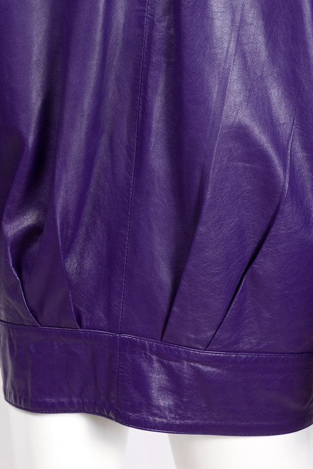 Pleated purple leather oversized vintage jacket