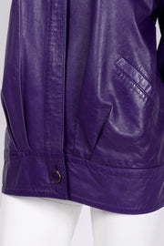 Vintage purple leather pleated jacket