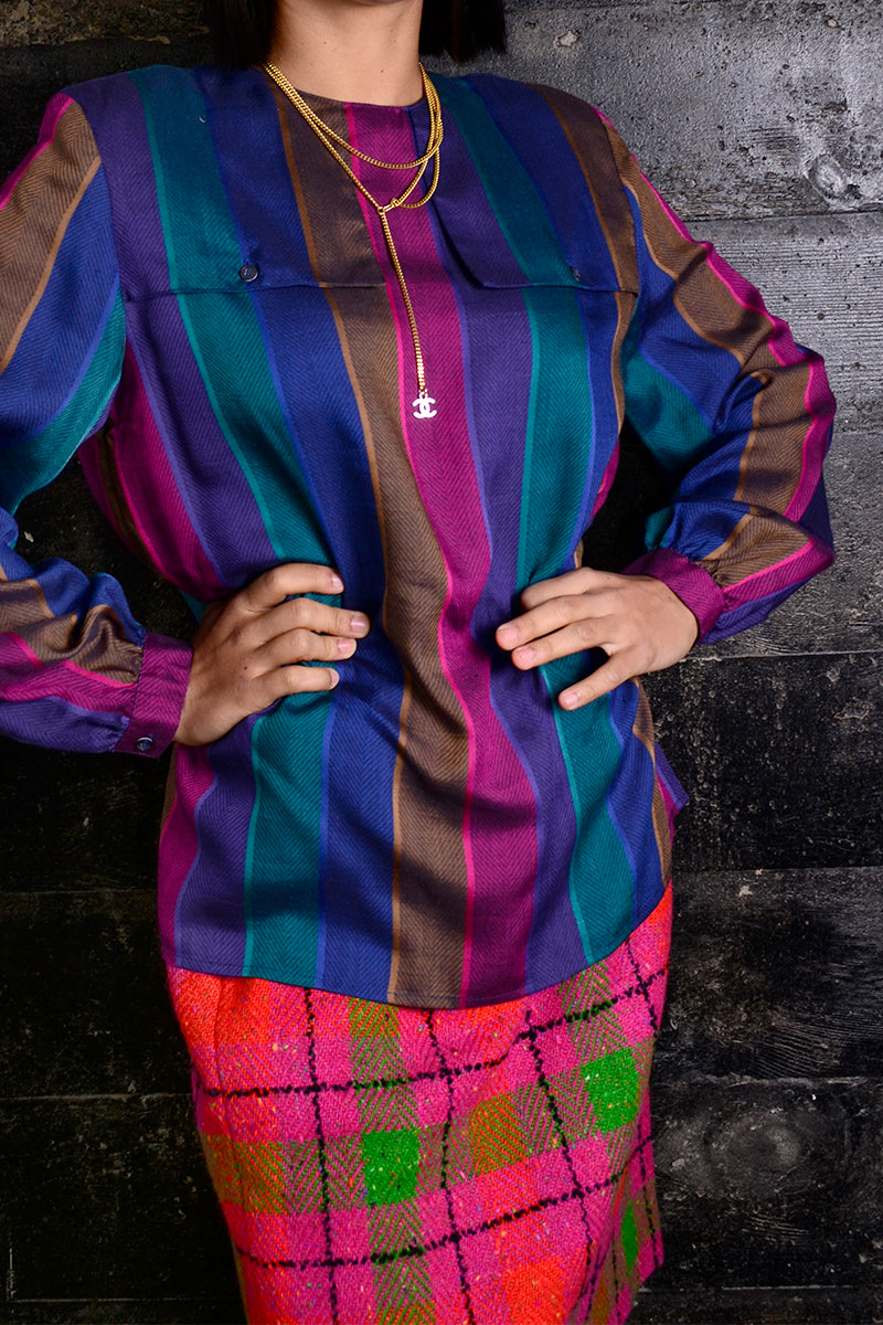 59a9572781e1 1970s Pink and Purple Striped Vintage Top w/ Buttoned Shoulder Flaps ...