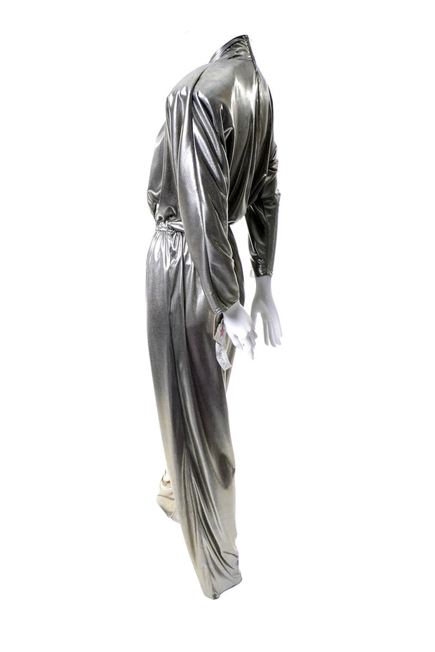 vintage bronze metallic lame jumpsuit deadstock