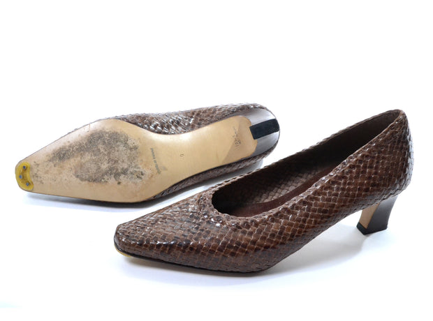 1980's Woven Brown Leather Heels John Martin Size 9 - Dressing Vintage