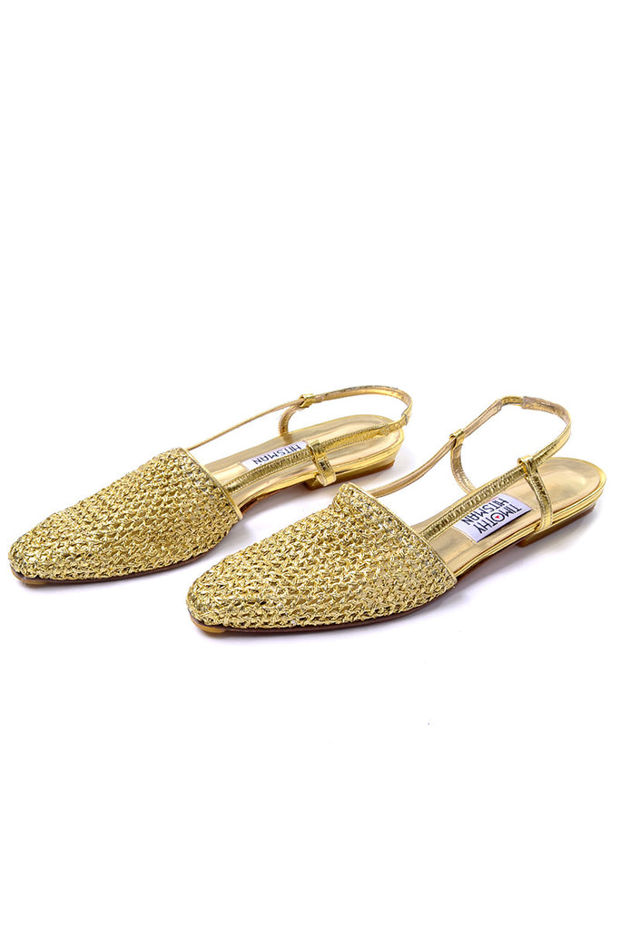Gold flats with woven toe and slingback