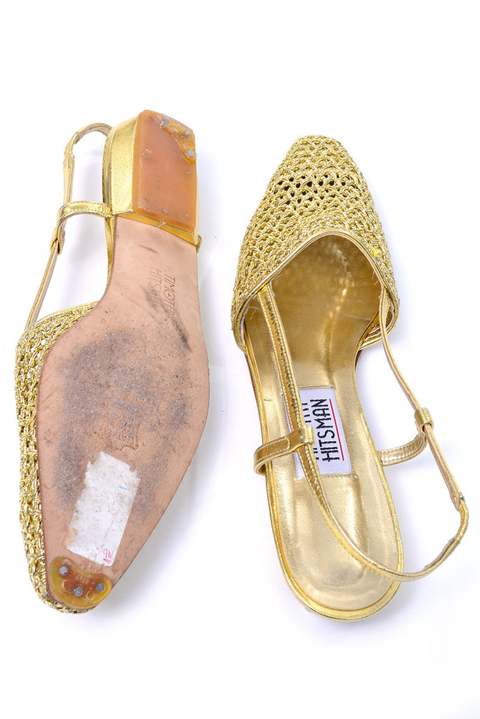 1980s or 1990s woven gold flats with slingback