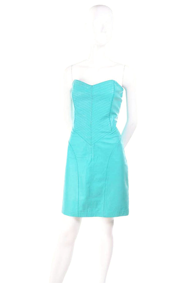 1980's Turquoise Leather Vintage Dress Size Small