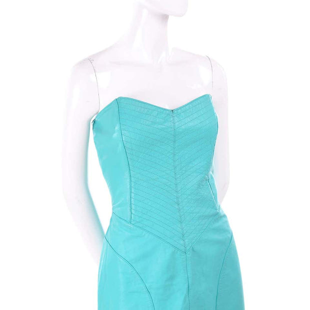 1980s Turquoise Leather Strapless Dress 4/6