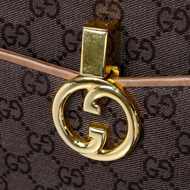 Brown Gucci Monogram 1980's Vintage Gucci Handbag Gold Clasp