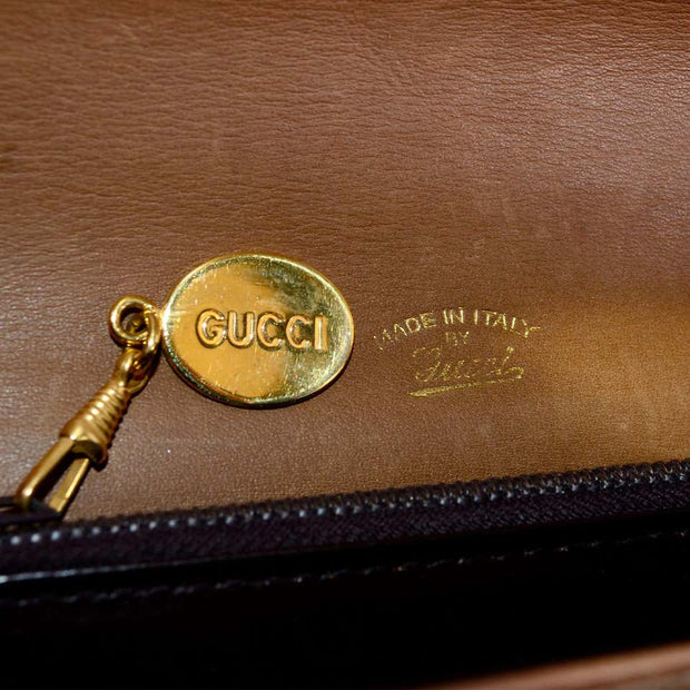 Brown Gucci Monogram 1980's Vintage Gucci Handbag Italy