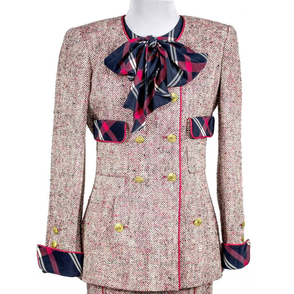 1985 Red White and Blue Chanel Vintage Skirt Suit Plaid Bow
