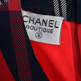 1985 Chanel Boutique Red and Plaid vintage skirt suit label