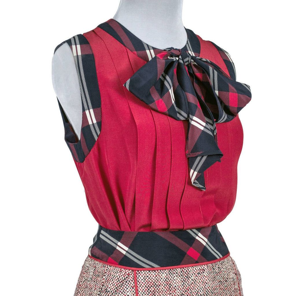 1985 Red White and Blue Chanel Vintage Skirt Suit Plaid Details and Red Silk Sleeveless Blouse