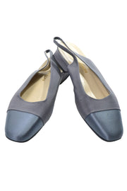 1990's Adrienne Vittadini Gray Two-Tone Satin Finish Slingback Slides Size 8 - Dressing Vintage