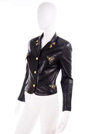 1990s Gianni Versace Medusa Lambskin Leather Black Jacket
