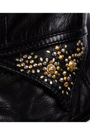 Studded 1990s Gianni Versace Lambskin Leather Black Moto Jacket