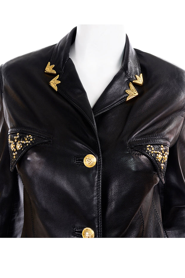 1990s Gianni Versace Lambskin Leather Black Moto Jacket Studs