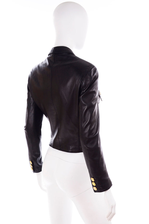 90s 1990s Gianni Versace Lambskin Leather Black Moto Jacket
