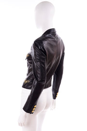 Medusa 1990s Gianni Versace Lambskin Leather Black Moto Jacket