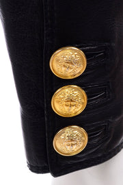 1990s Gianni Versace Lambskin Leather Black Moto Jacket Medusa buttons