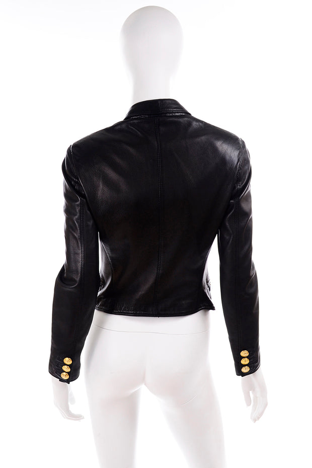 1990s Gianni Versace Lambskin Leather Black Jacket Medusa