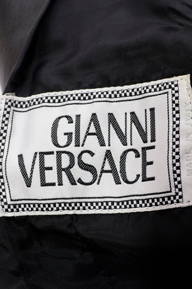 Italy 1990s Gianni Versace Lambskin Leather Black Moto Jacket