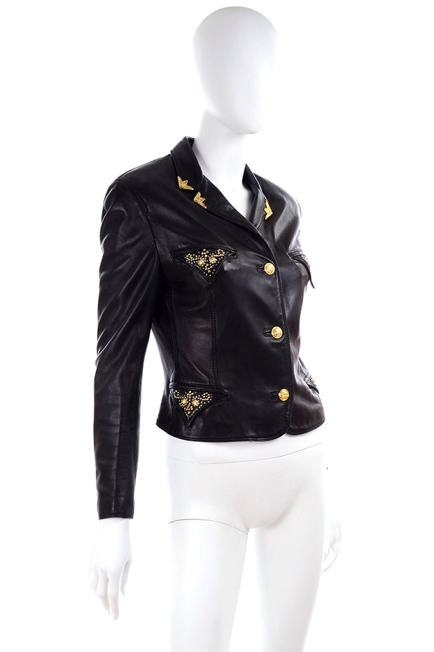 1990s Gianni Versace Lambskin Leather Black Jacket