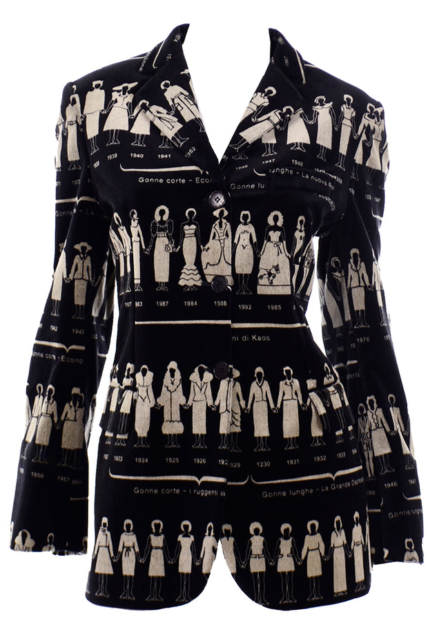 Moschino Deadstock Vintage Black Velvet Jacket With Fashion History Illustrations