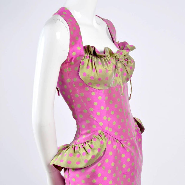 Pink and Gold peplum vintage Christian Lacroix Dress