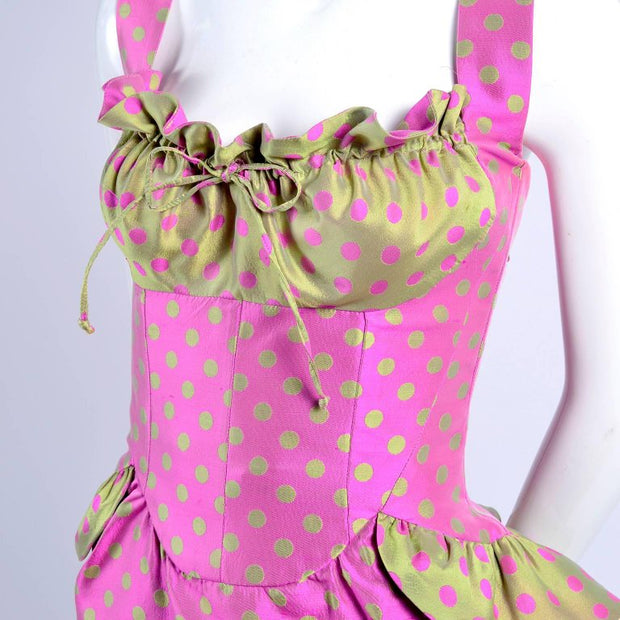 Polka Dot Christian Lacroix Vintage Dress with Gathered Bust